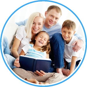 Happy-family-reading-a-book-Dentist-Glen-Waverley