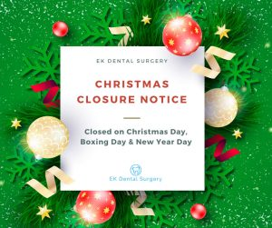 ek dental surgery christmas closure notice banner